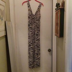 Zebra striped maxi dress
